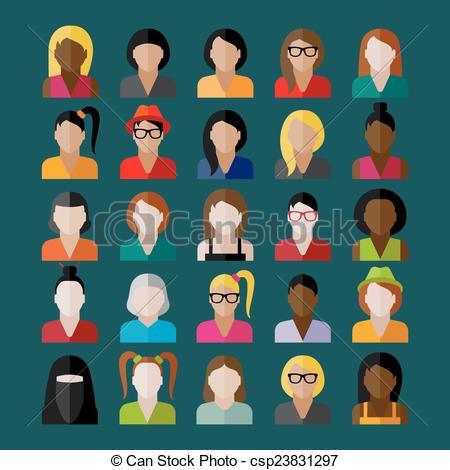 Vector Illustration of women appearance icons. people flat icons.