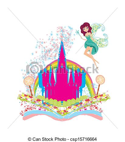 Clip Art Vector of Magic world of tales, fairy castle appearing.