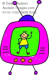 Clipart Image of Little Boy Appearing On The Television.