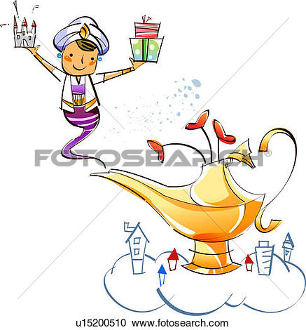 Stock Illustrations of Genie appearing from a magic lamp holding a.