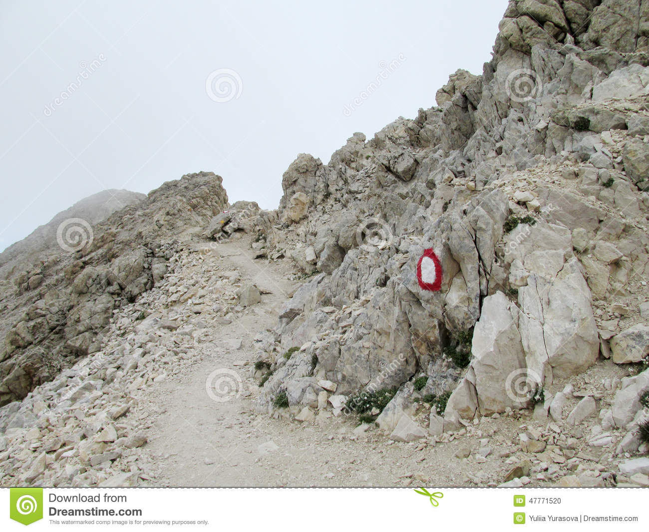 Rocky Path In Clouds In Apennine Mountain Range Stock Photo.