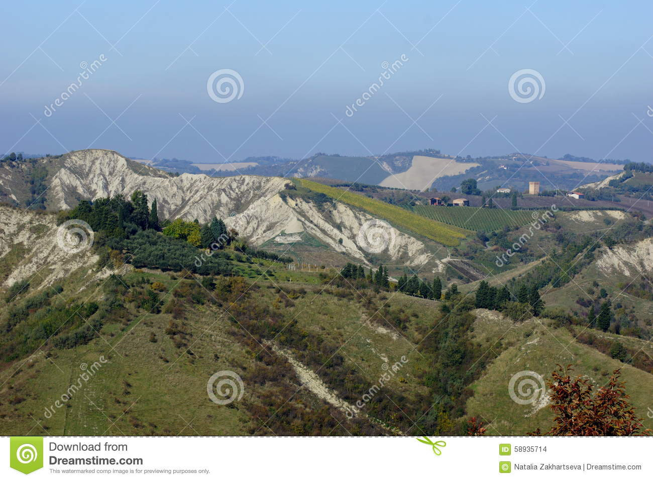 Italy. View Of The Mountain Chain Of The Apennines. Stock Photo.
