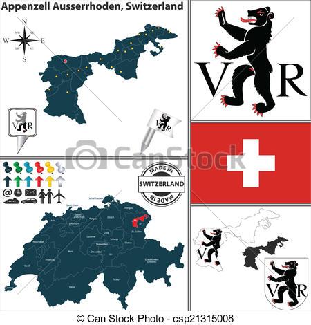 Vector Clipart of Map of Appenzell Ausserrhoden, Switzerland.
