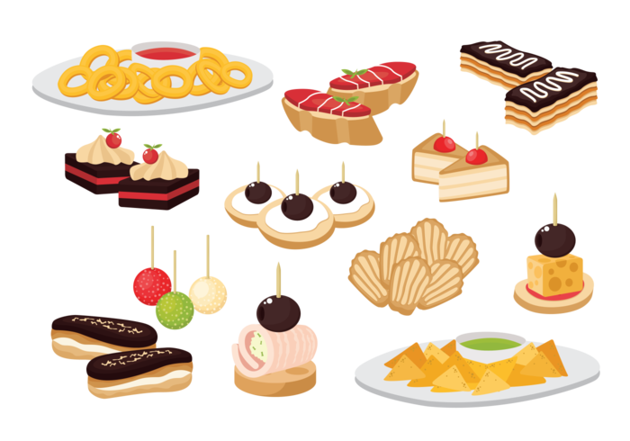 Canape Snacks Appetizer Vector.
