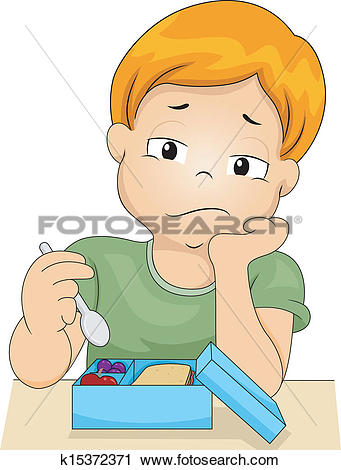 Clipart of Boy without Appetite k15372371.