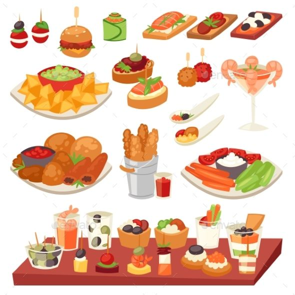 Appetizer vector appetizing food and snack meal or starter and.