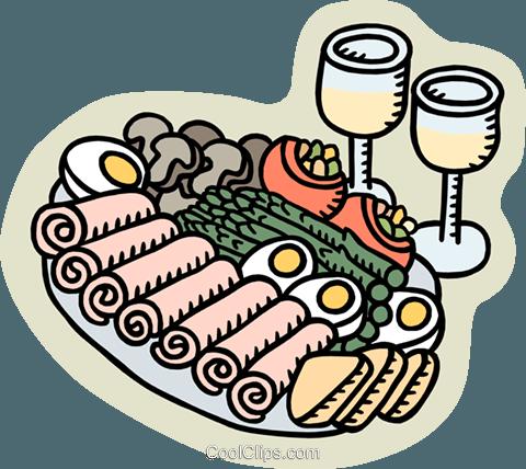 appetizer platter Royalty Free Vector Clip Art illustration.