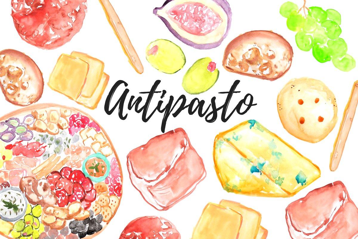 Watercolor Food Antipasto Clipart.