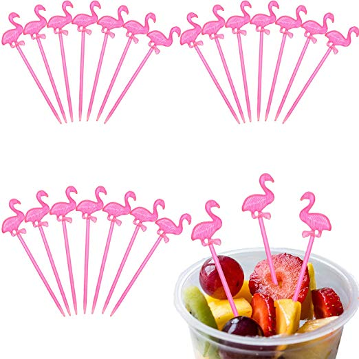 300 Pieces Plastic Picks Cocktail Picks Appetizer Picks Plastic Drink Picks  for Tropical Party Decoration and Supplies (Flamingo Shape).
