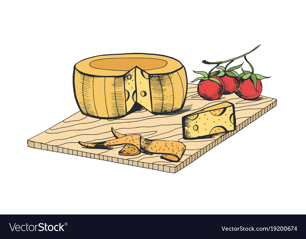 Drawing of cheese head piece slices and cherry.