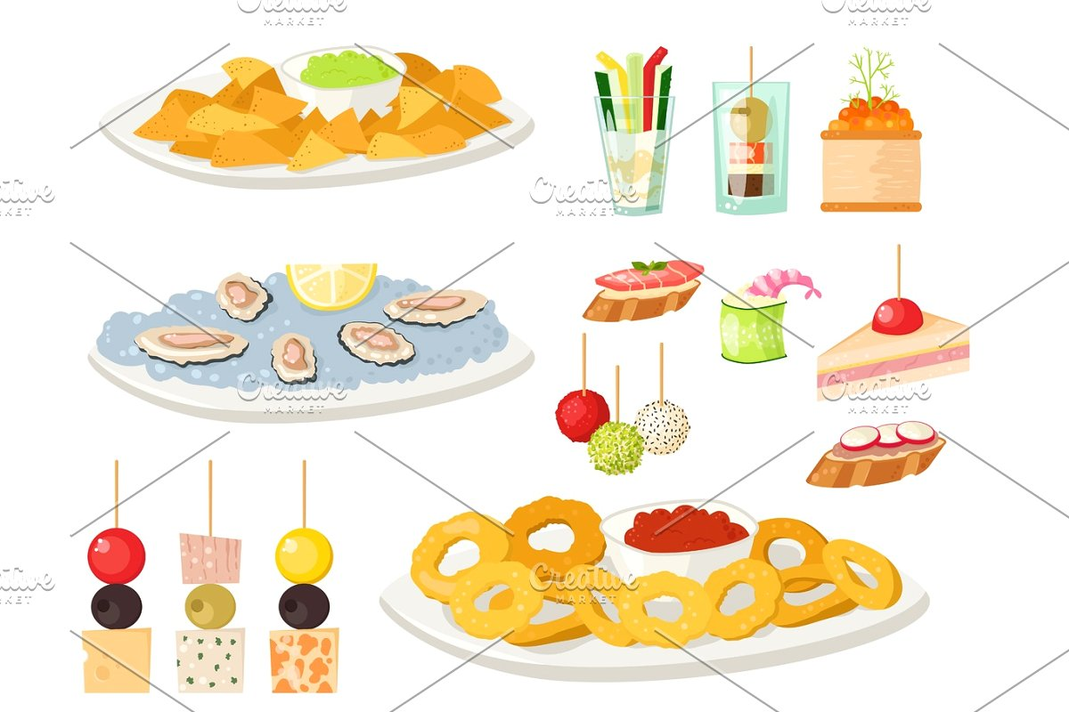Various meat canape snacks appetizer fish and cheese banquet snacks on  platter vector illustration..