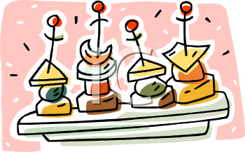 Drinks And Appetizers Clipart.