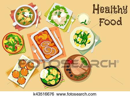 Appetizers and various of potato salads icon Clip Art.