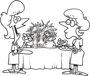 and White Coloring Page of Two Women Eating Appetizers.