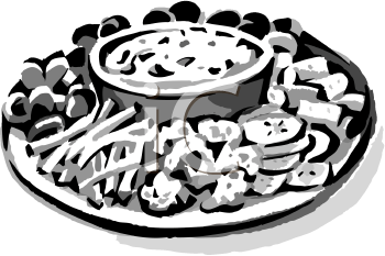 Appetizers clipart black and white.