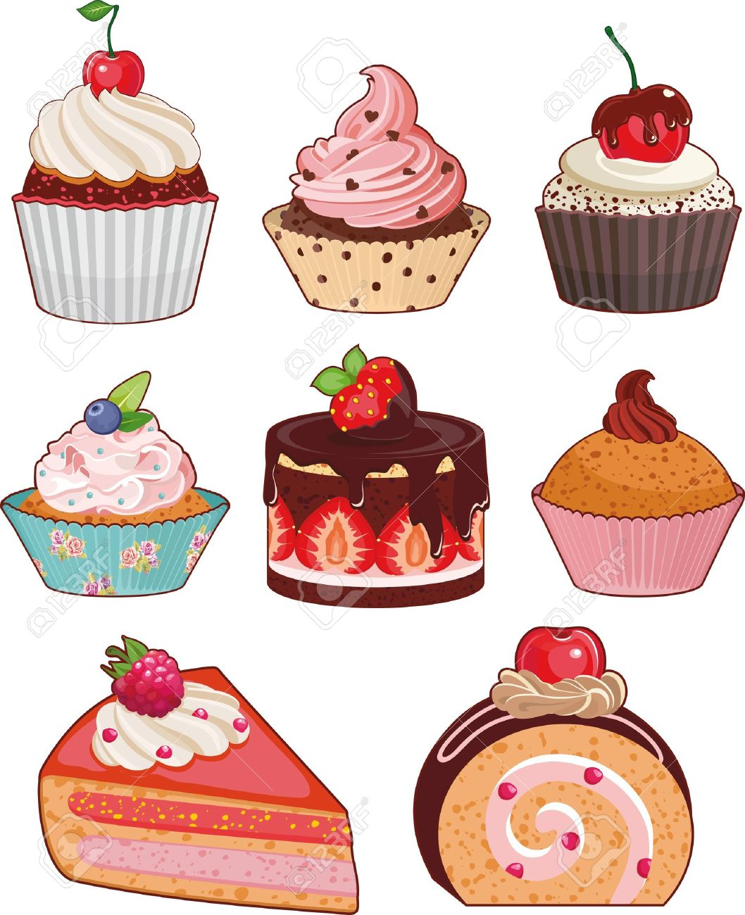 Set Of Appetizing Cakes With Different Berries And Stuffings.
