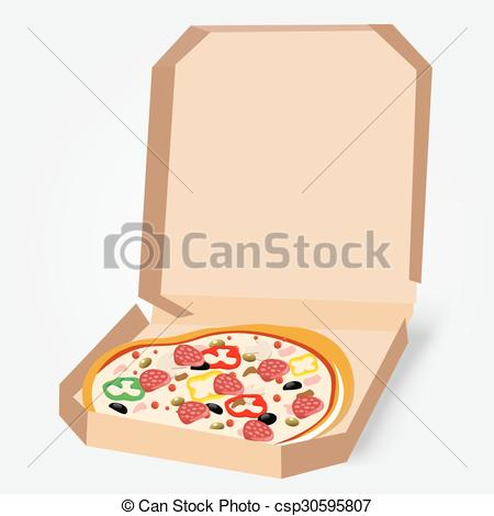 Vector Clipart of appetizing pizza in a cardboard box.
