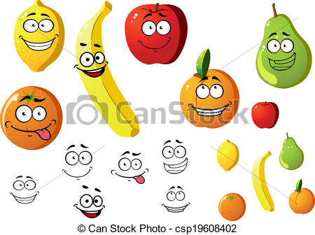 Vector Clipart of Appetizing fresh cartoon fruits.