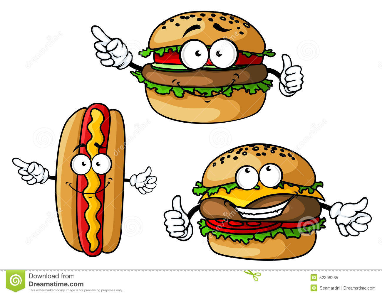 Appetizing Hamburgers And Hot Dog Cartoon Stock Vector.