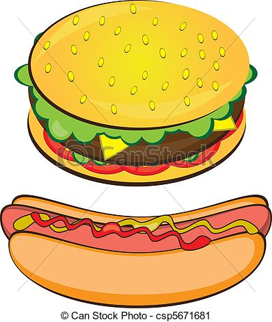 Vector Clip Art of Appetizing Hotdog and Sandwich. Vector.