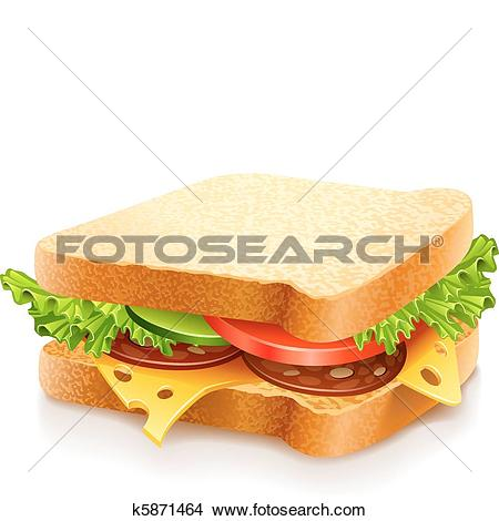Clipart of appetizing sandwich with cheese and vegetables k5871464.