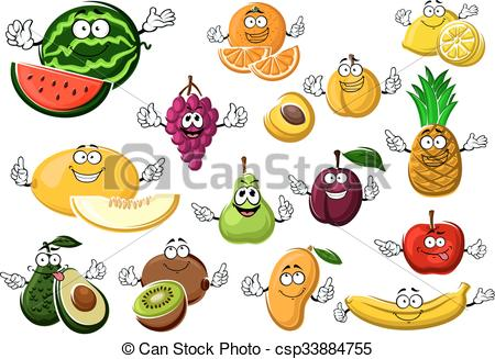 Clipart Vector of Appetizing ripe tropical and garden fruits with.