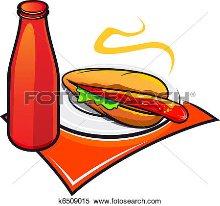 Clipart of Appetizing hotdog with ketchup k6509015.