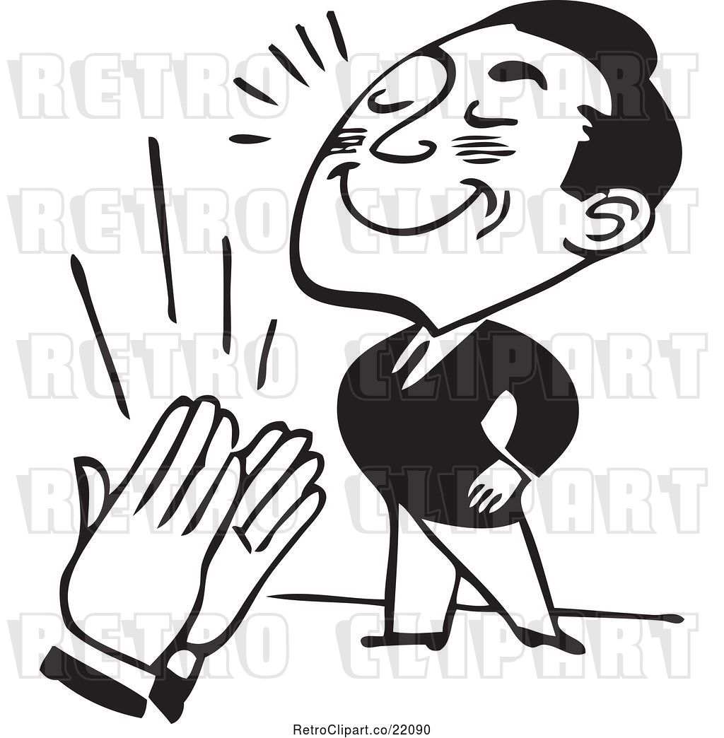 Vector Clip Art of Retro Business Man Being Applauded by.