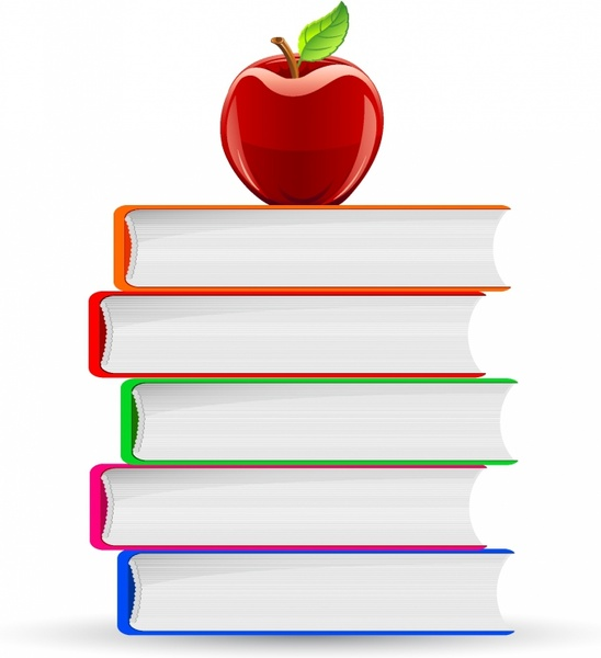 Stack of Book and Red Apple Free vector in Adobe Illustrator.