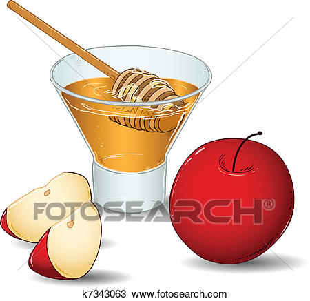 Rosh Hashanah Glass Of Honey With Apples Clipart.