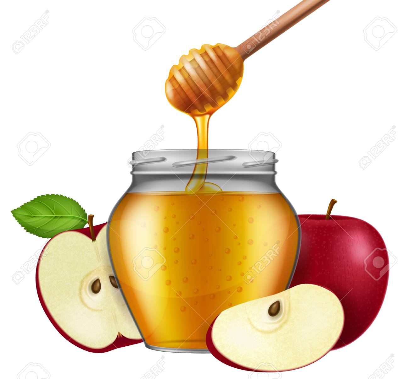 Jar of honey with a wooden dipper and apple. Traditional celebration...
