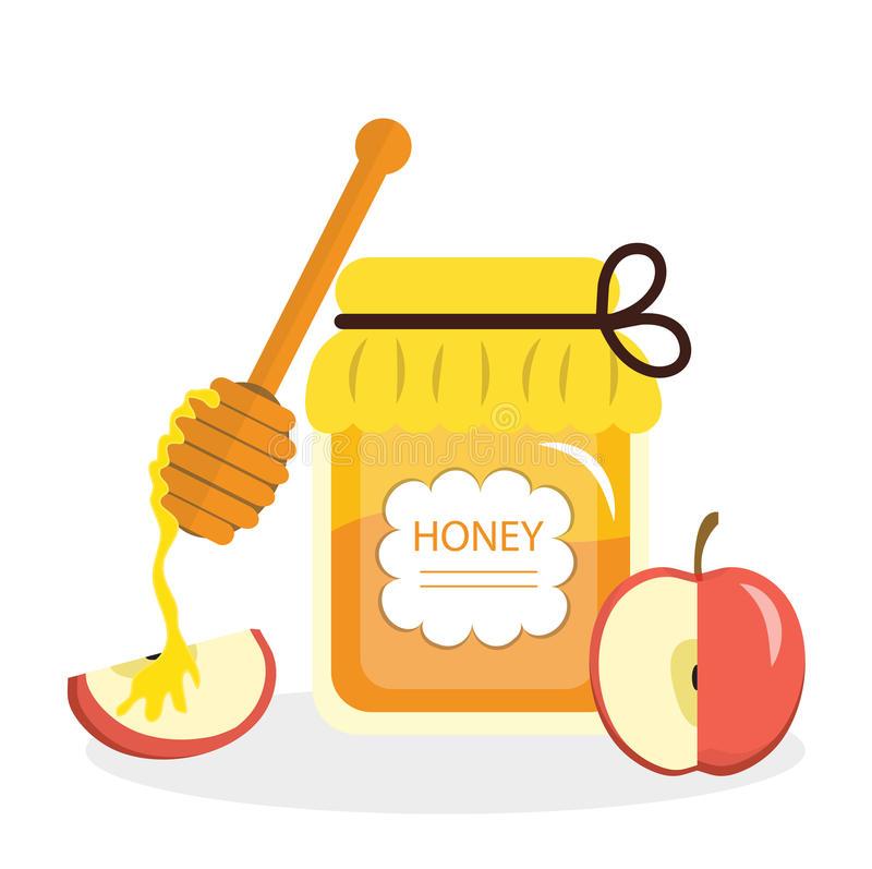 Apples Honey Stock Illustrations.