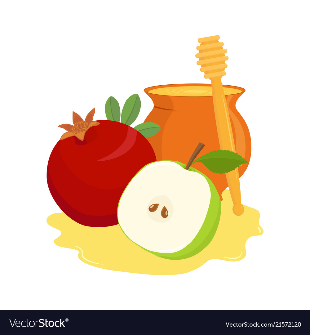 Pomegranate apple and honey pot.
