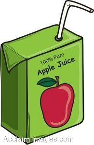 Clip Art of a juice box of apple juice, with a bendy straw.