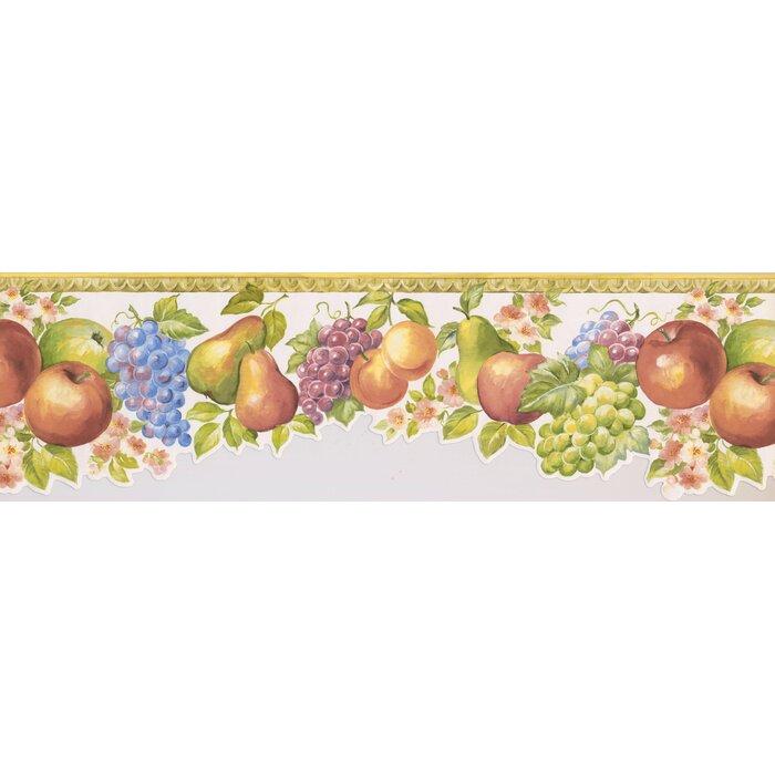 15\' L x 6.75\'\' W Fruits Apple Pear Grapes Peach Retro Design Wallpaper  Border.