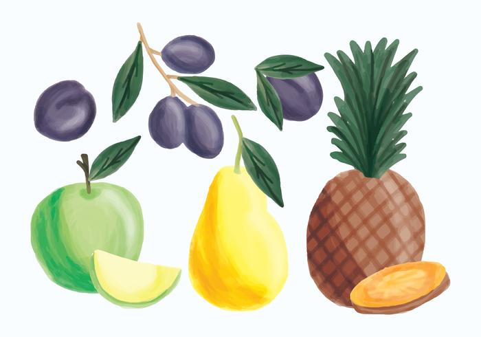 Vector Hand Drawn Pineapple, Apple, Pear and Plums.