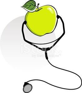 Apple and stethoscope Clipart Image.