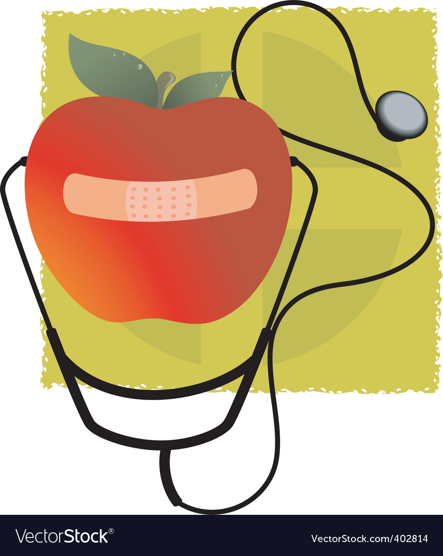 Stethoscope and apple.