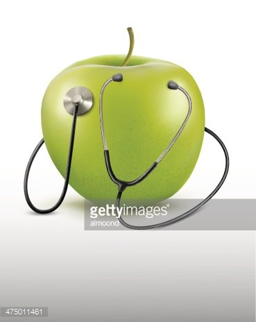 Stethoscope and green apple. Medical background.Vector.