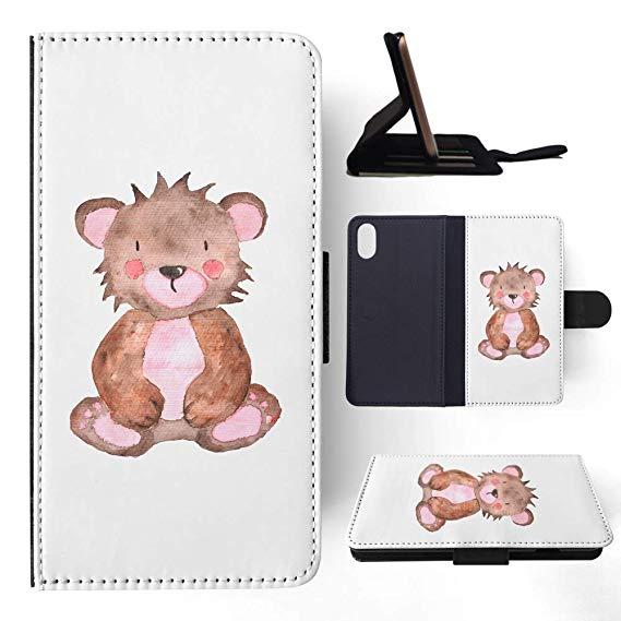 Amazon.com: Watercolor Teddy Bear Flip Wallet Phone Case.