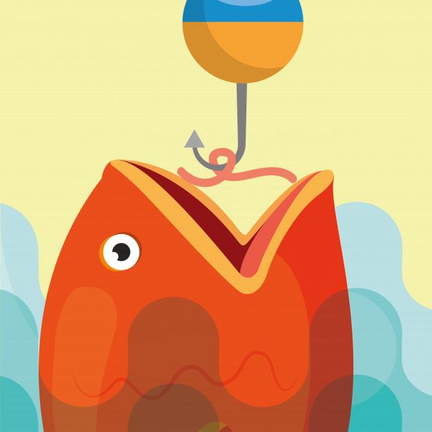 Fish fishing cartoon Vector.