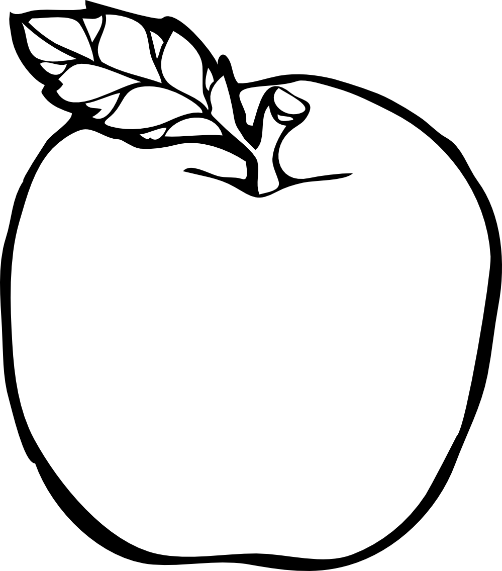 Black And White Clipart Images Of Apple.