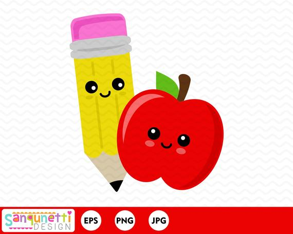 Apple and pencil clipart, back to school teacher and classroom digital art,  instant download.