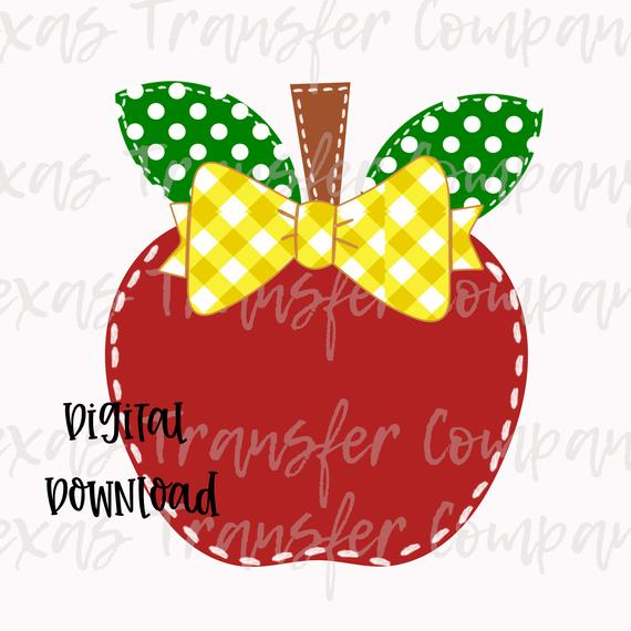 Apple digital download, back to school digital design, back to school  printable, sublimation file, apple PNG, back to school clipart.