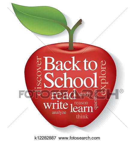 Back to School Apple Word Cloud Clip Art.