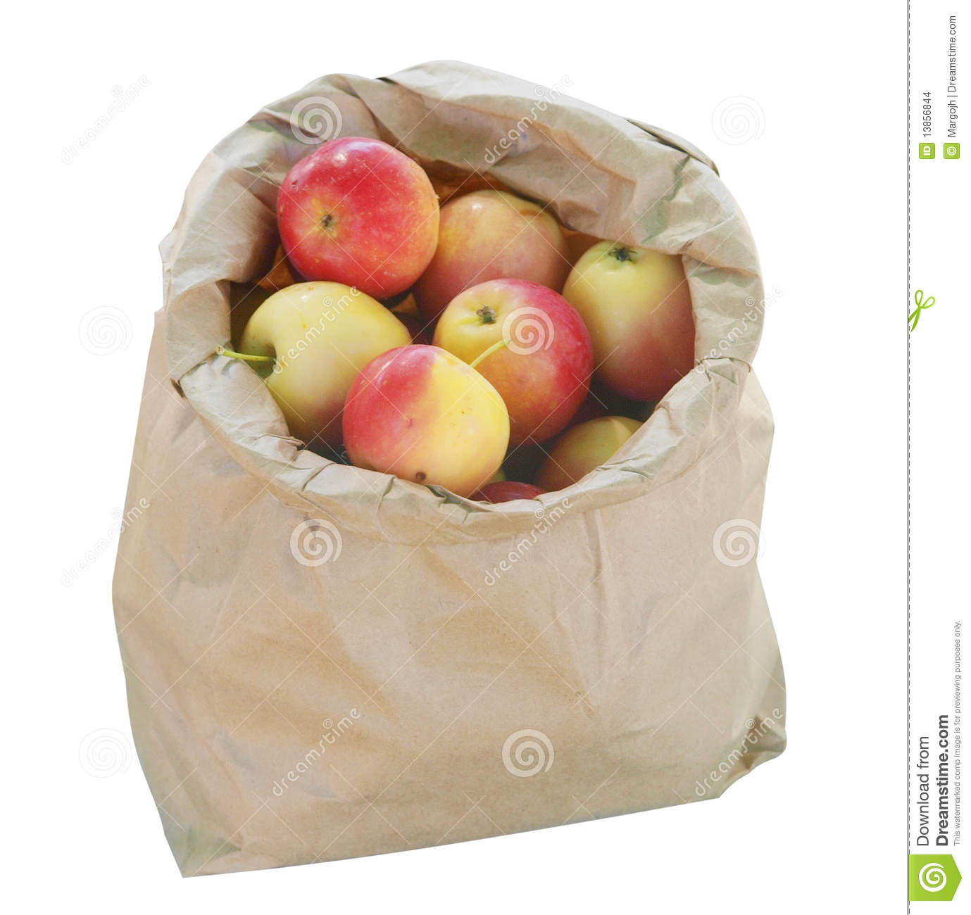 Brown paper bag and apple clipart.