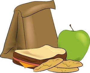 Lunch bag clipart bread apple.