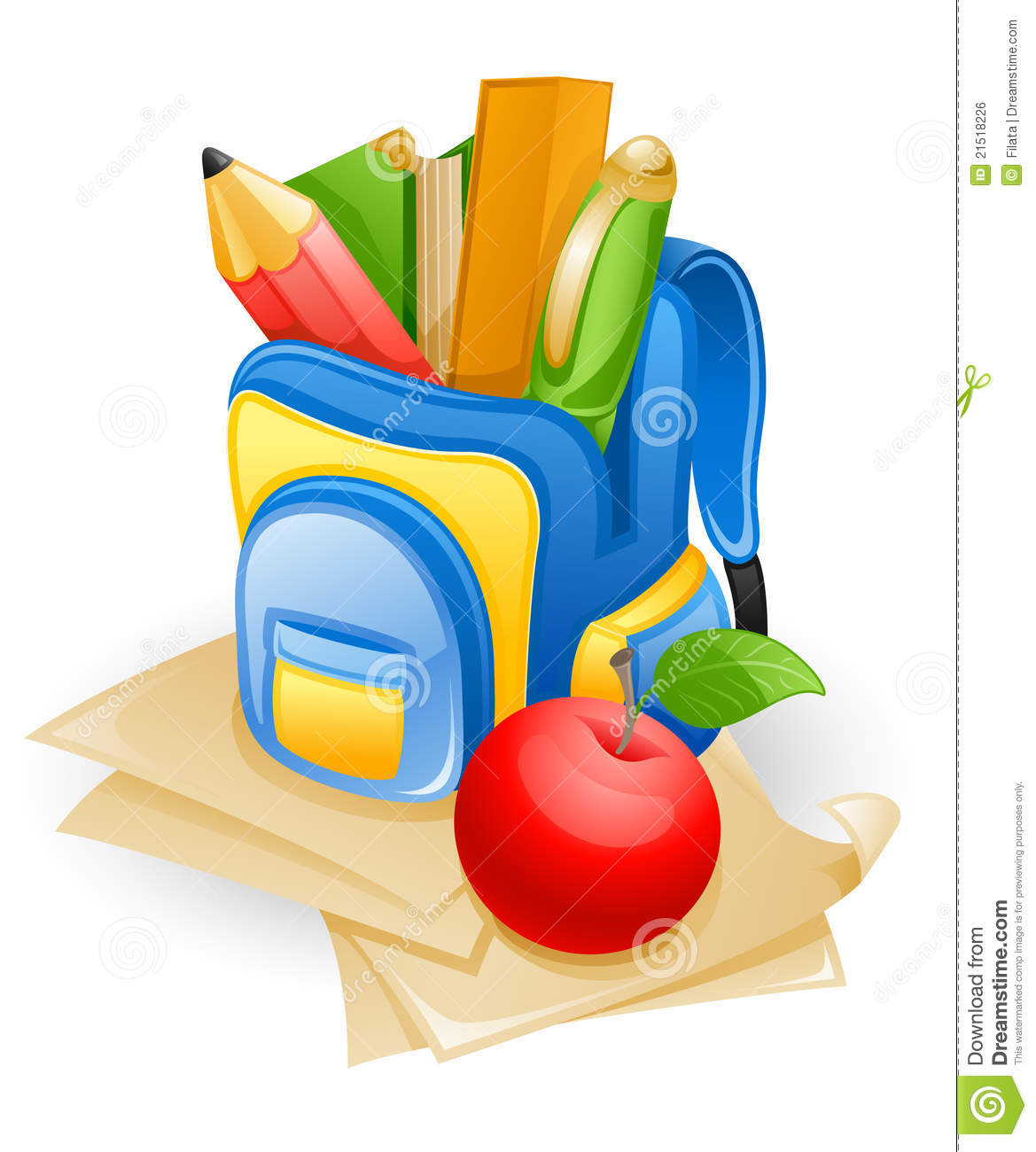 School Bag And Apple Royalty Free Stock Image.