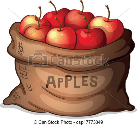 Bag of apples clipart.