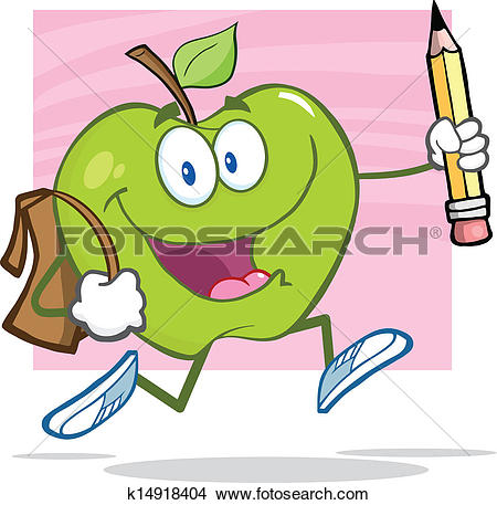 Clipart of Green Apple With School Bag k14918404.